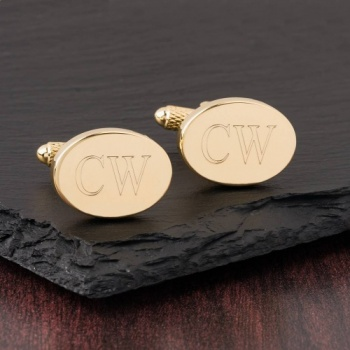 Oval Initial Cufflinks Gold Colour